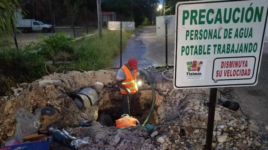 Restablecen presión de agua en Tizimín tras repararse dos fugas grandes