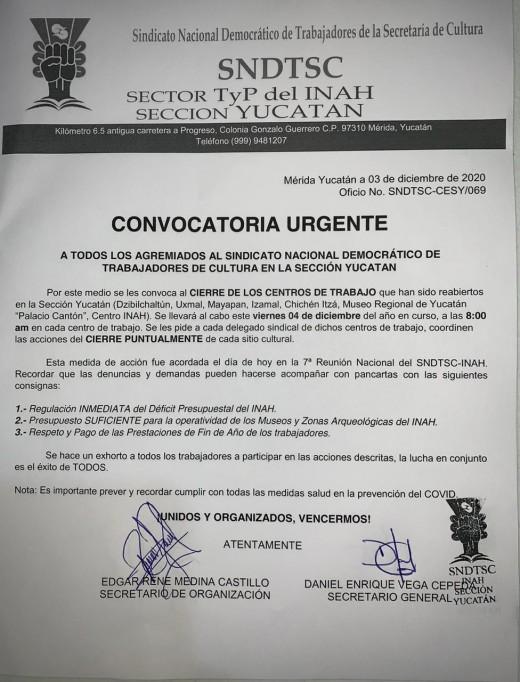 Déficit de mil millones de pesos para trabajadores del INAH
