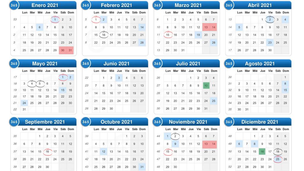 Estos son los días festivos del 2021